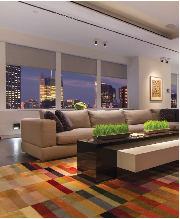 motorized shades and draperies eliminate unsightly cords and open magically, giving you beautiful, unobstructed views.